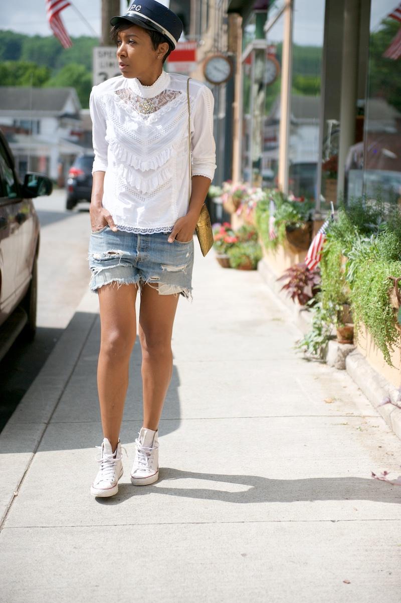 victorian blouse, denim shorts