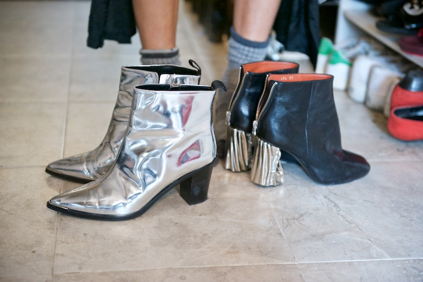 Acne metallic boots