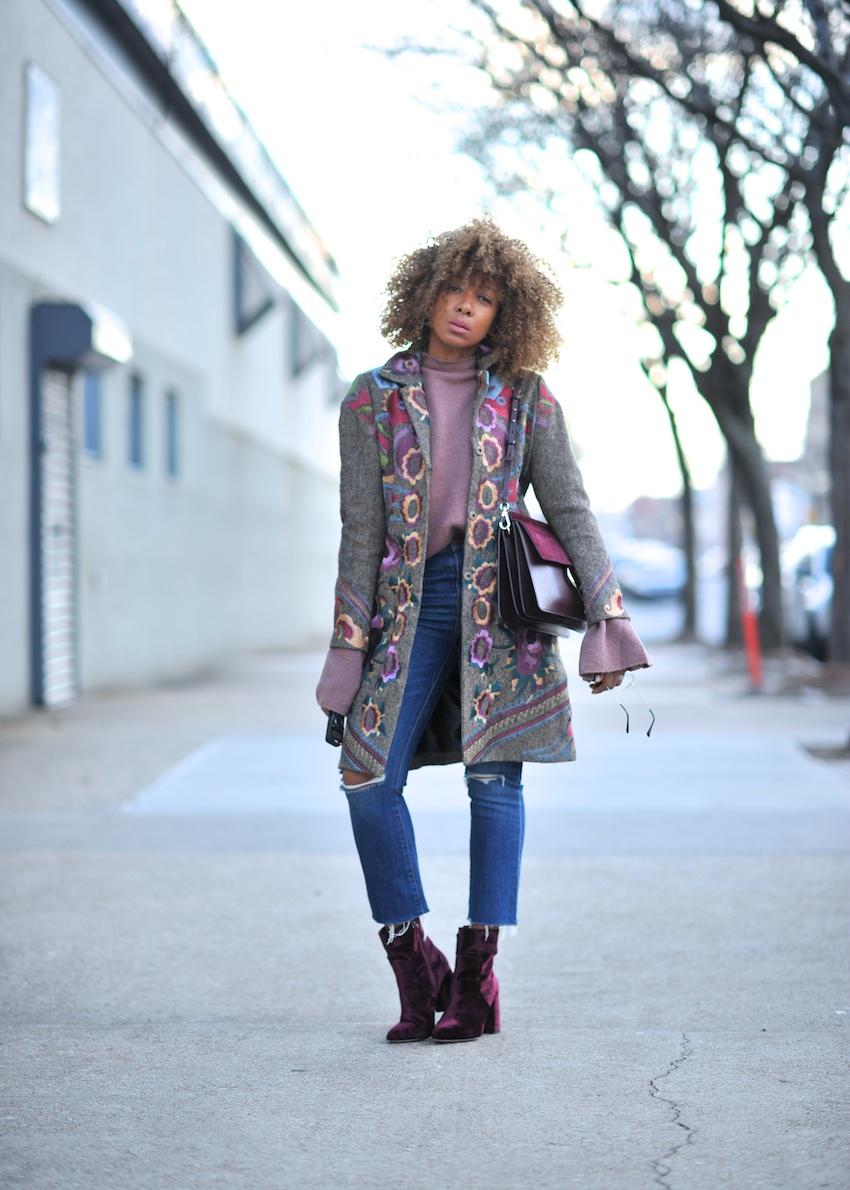 Karen Blanchard wearing the Chloe Faye bag and Steve Madden velvet ankle boots