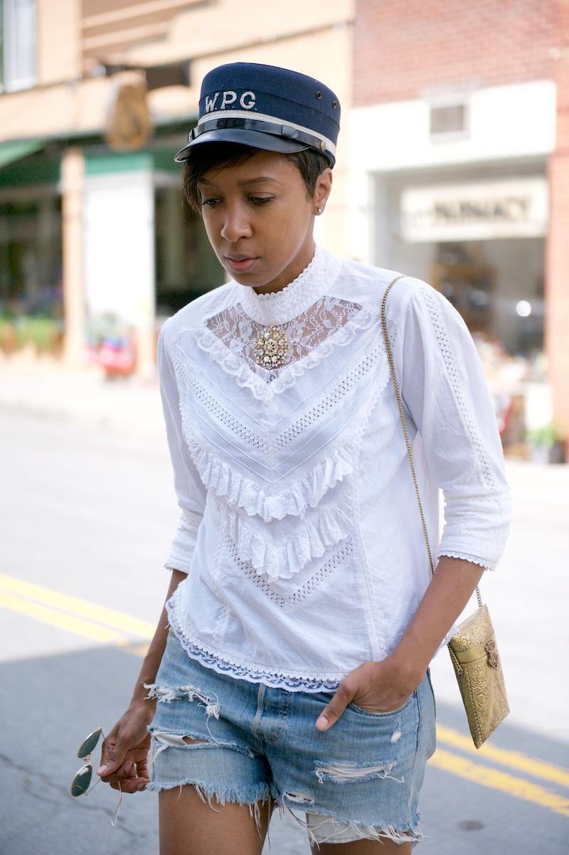 victorian blouse, metal purse
