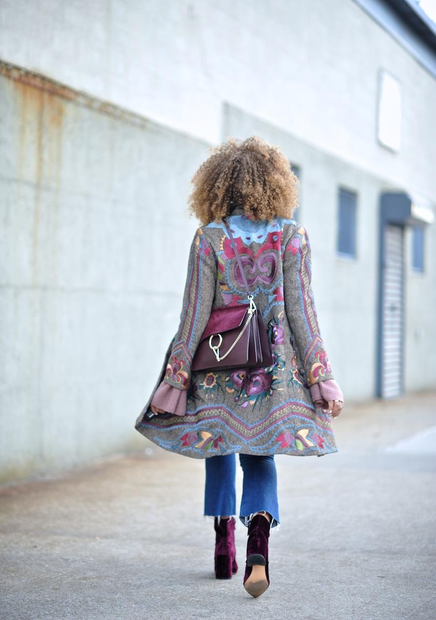 Karen Blanchard the fashion blogger wearing a Chloe Faye bag in dark purple