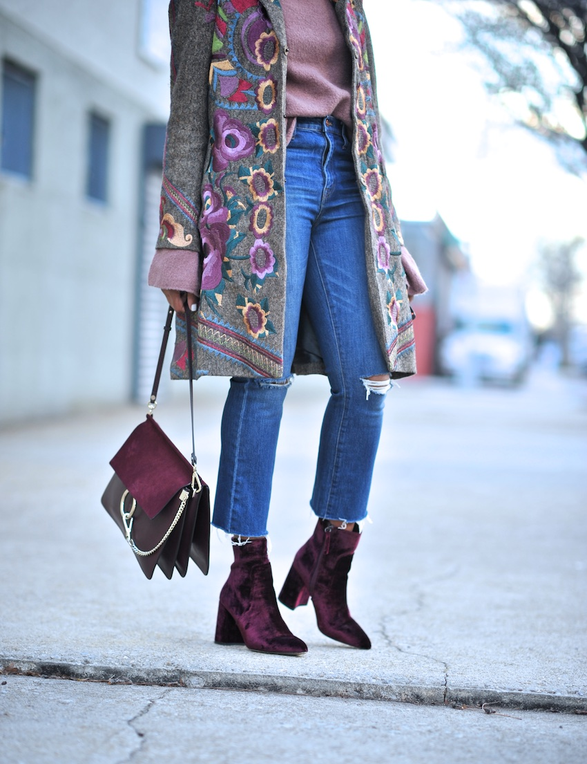 Karen Blanchard the fashion blogger wearing the Chloe Faye bag and Steve Madden velvet ankle boots