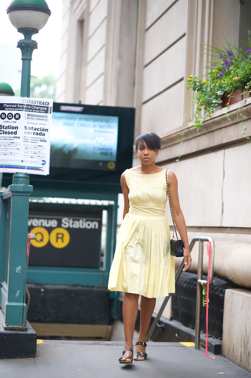 yellow summer dress, chanel square mini