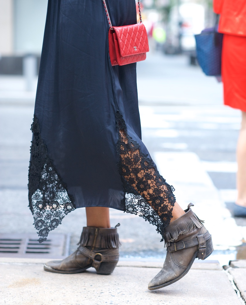 fringe ankle boots, chanel wallet on chain, chanel red bag, all saints boots