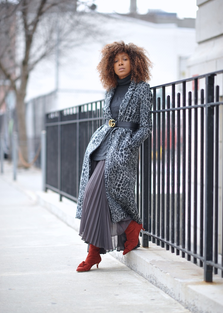 leopard print coat and pleated skirt with zara bow kitten heel boots