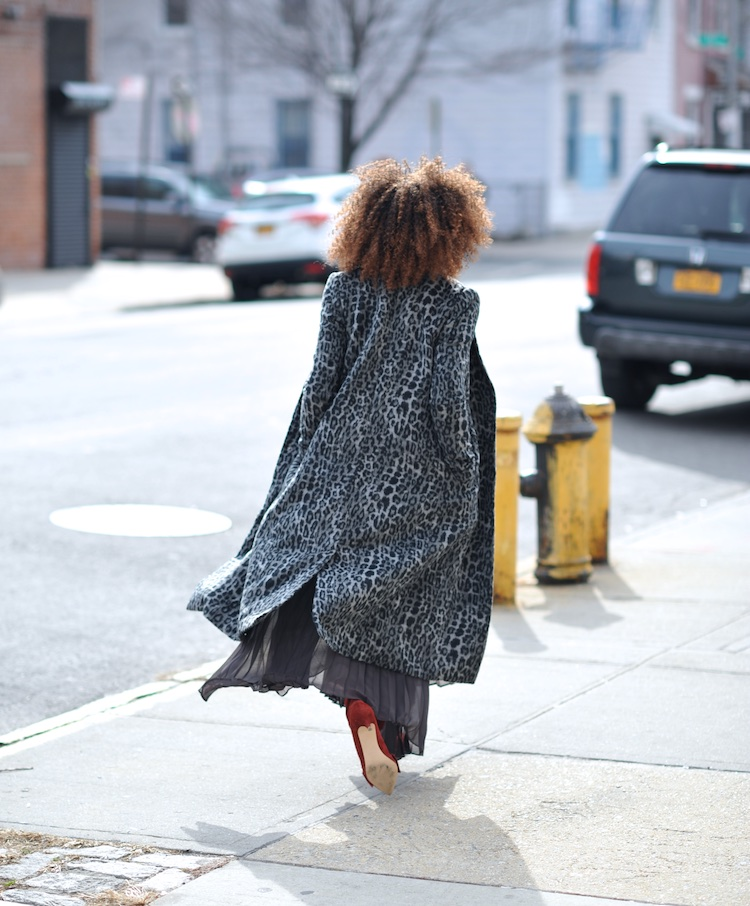 Karen Blanchard wearing zara bow suede ankle boots and an H&M leopard print coat