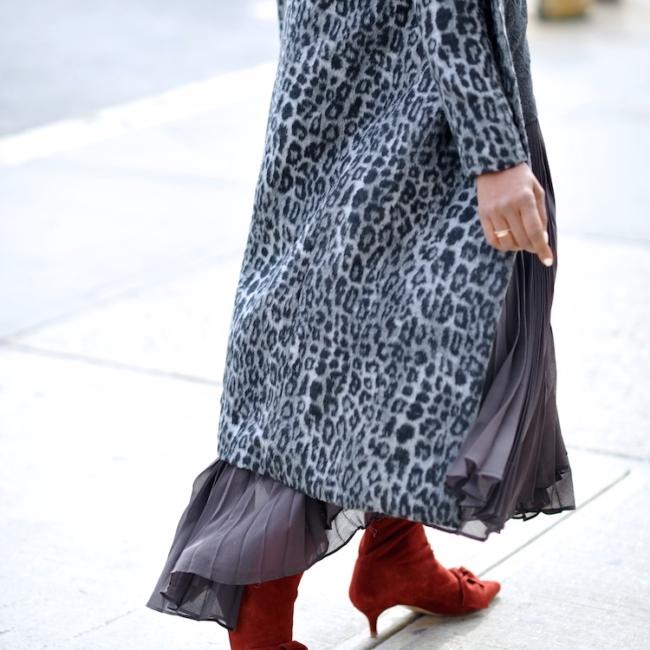 Karen Blanchard wearing a leopard print coat