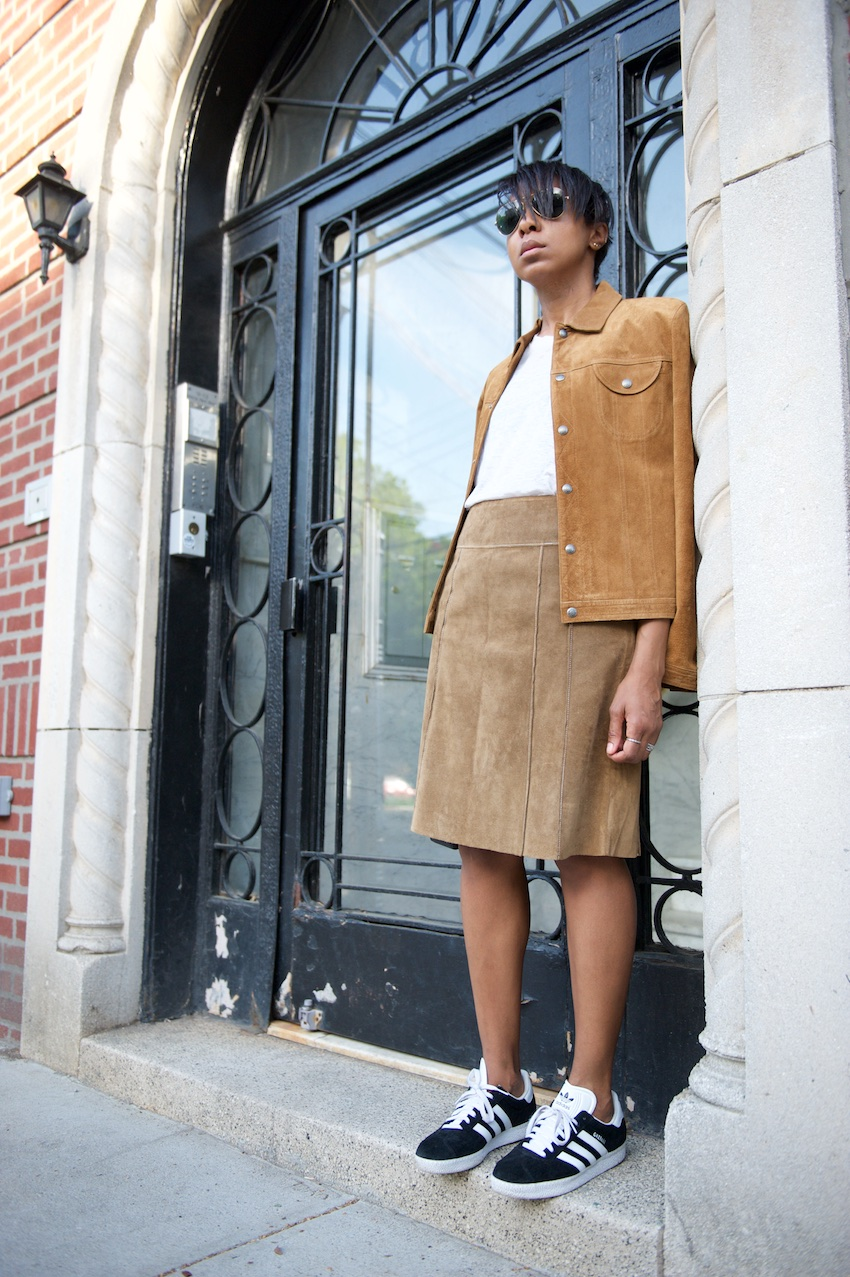 Suede A Line skirt