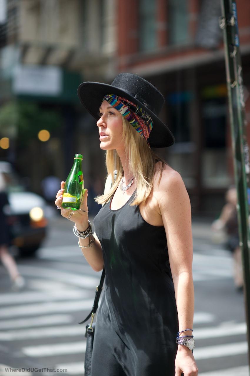black slip dress, fedora, bolero hat