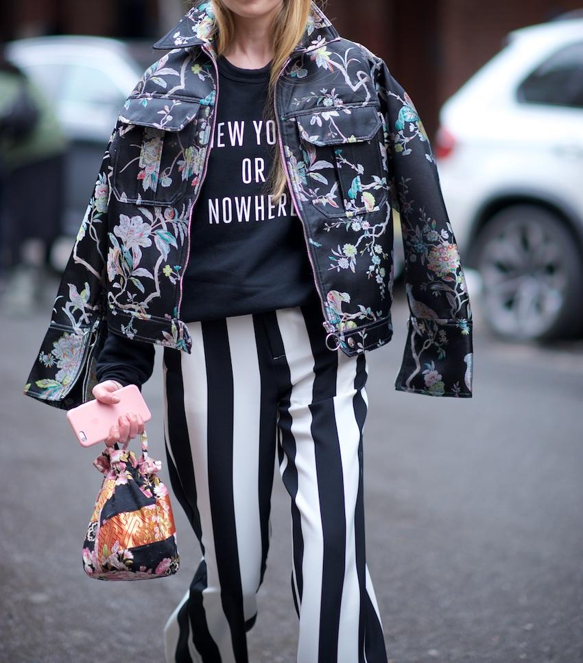 H&M Floral bomber jacket and wide leg stripe pants