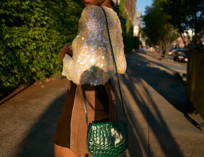 suede mini skirt, cross body bags