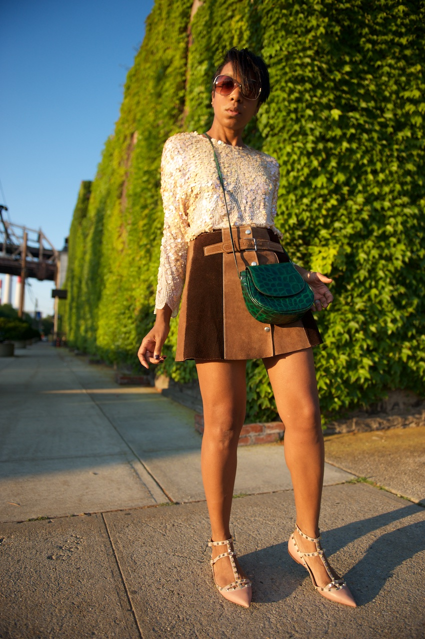 button front skirt, suede mini skirt, new york fashion bloggers