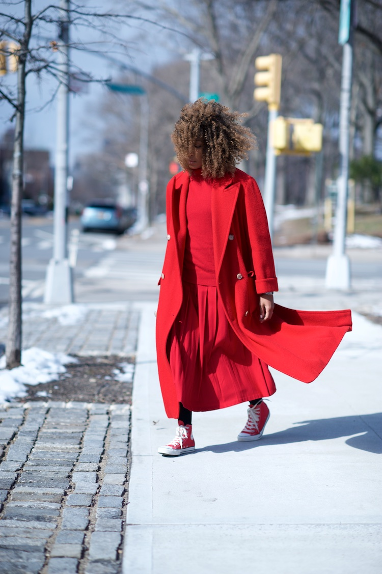 long red vintage red coat