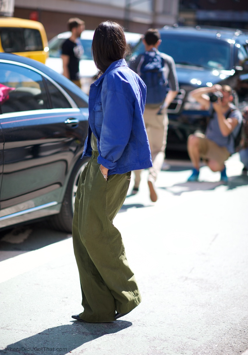 boxy jackets, wide leg pants, new york street style