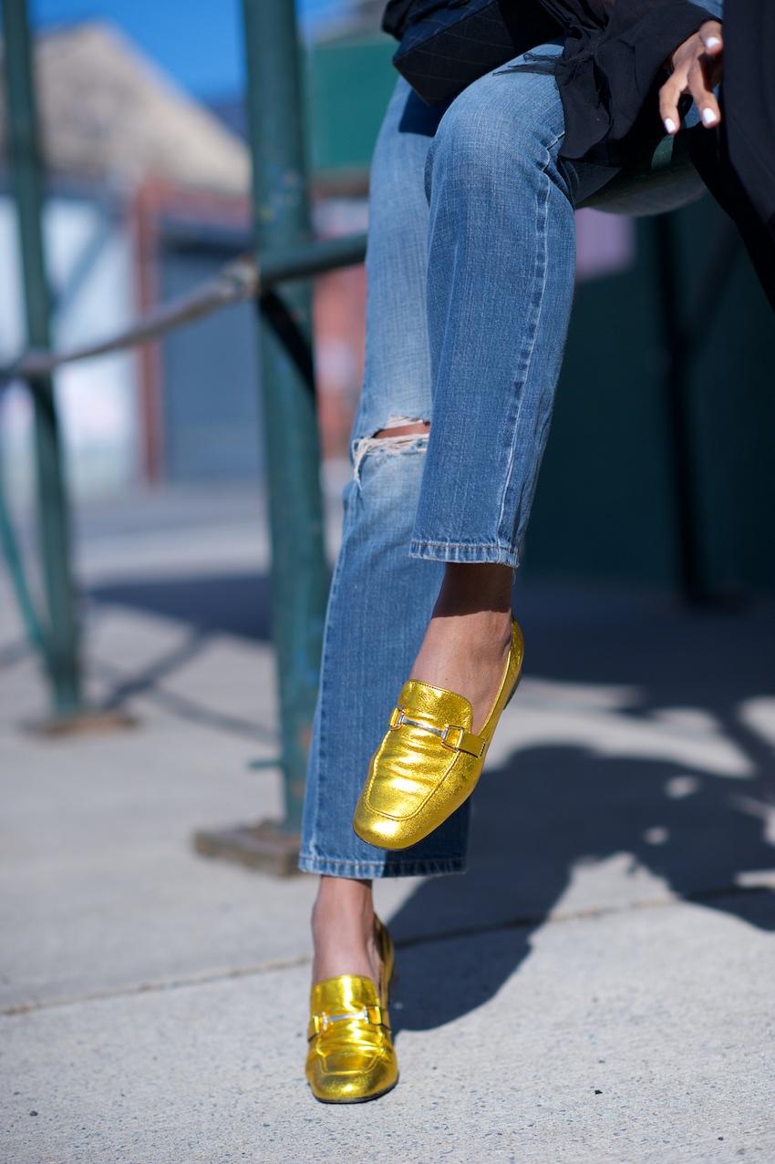 topshop metallic loafers