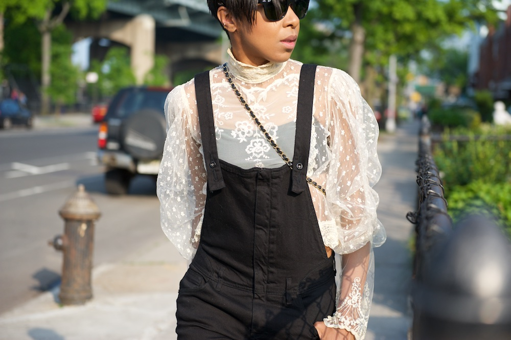 black dungarees, white lace blouse