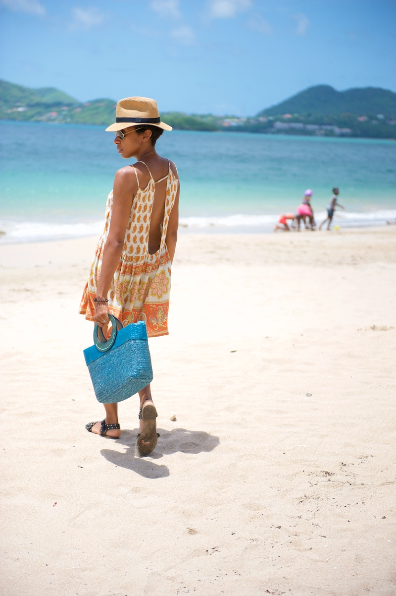 panama hat, sandals, straw bag, vacation outfits
