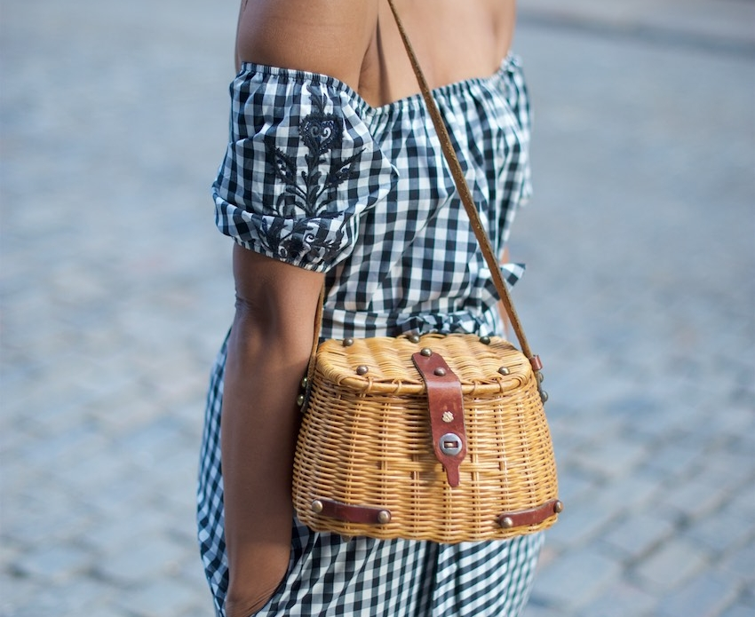 off the shoulder gingham dress with a vintage straw bag