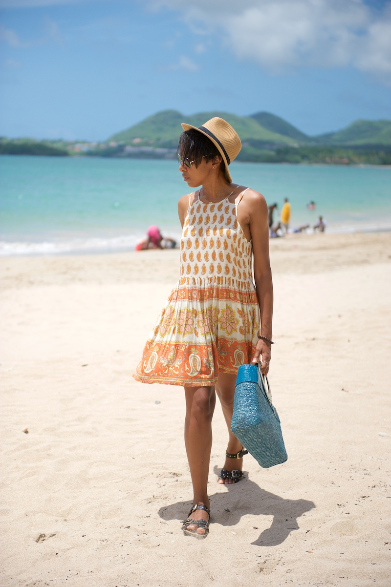 summer dress, hat, panama, straw tote bag
