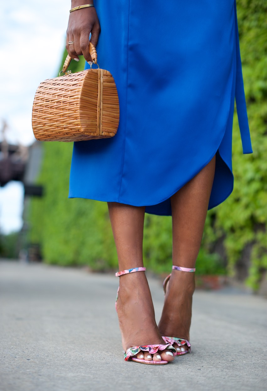 floral high heels and basket bags