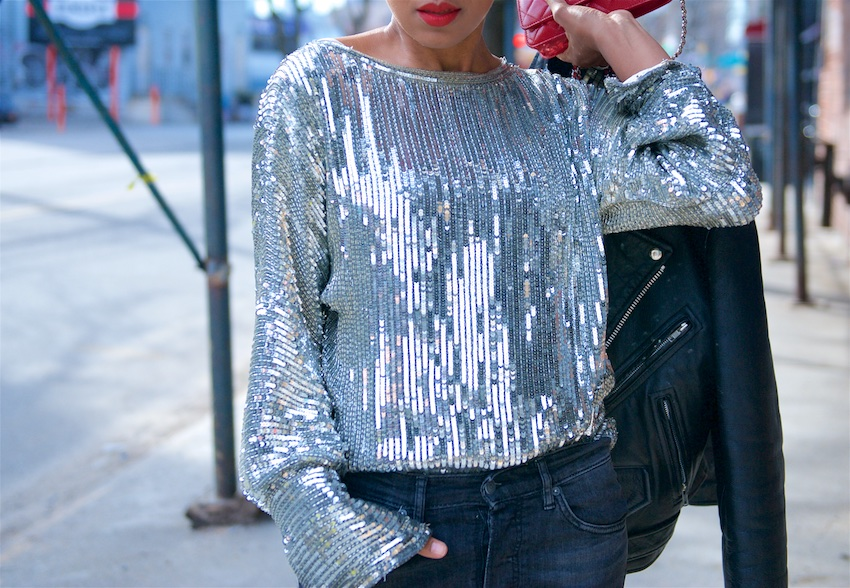 silver sequin top