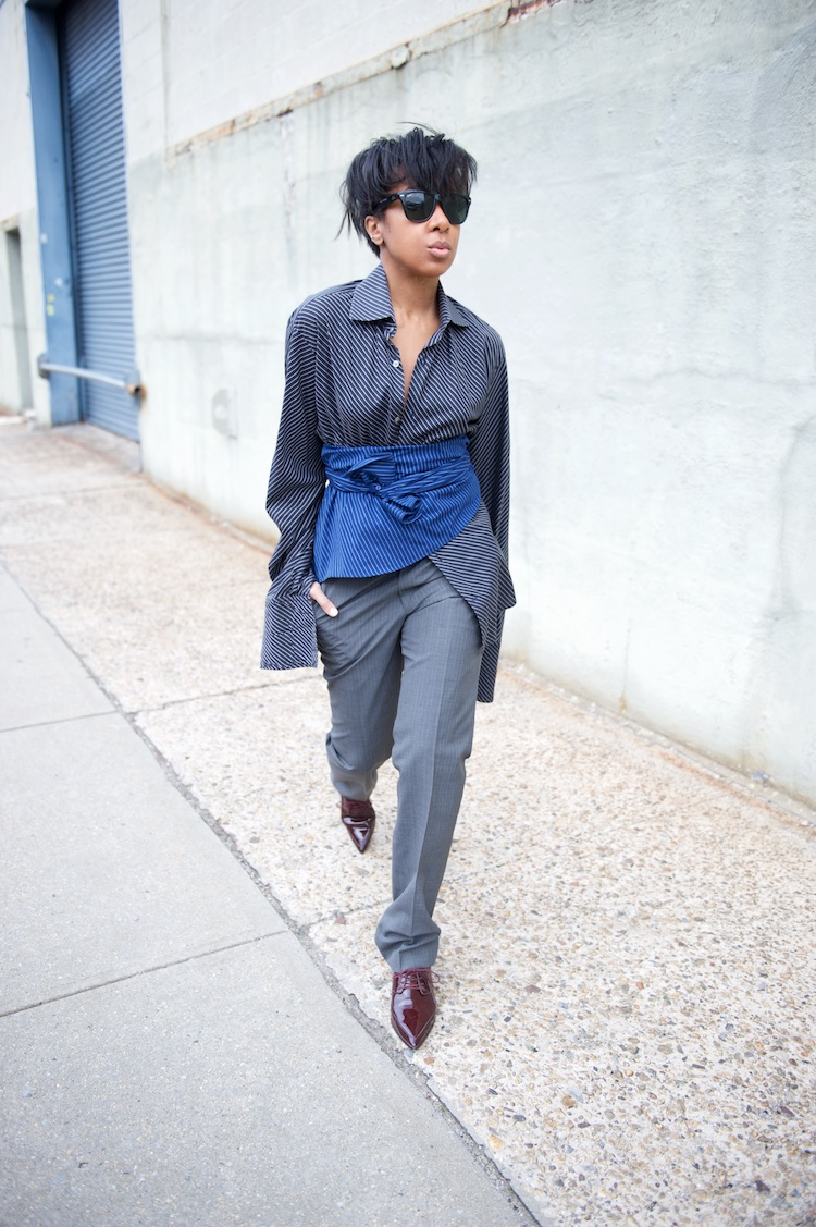 Karen Blanchard wearing Zara pointy brogues and pinstripe oversized shirt