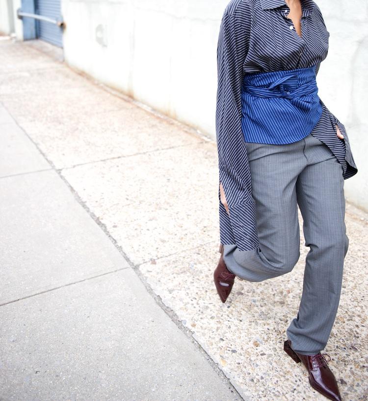 Karen Blanchard wearing pointy brogues