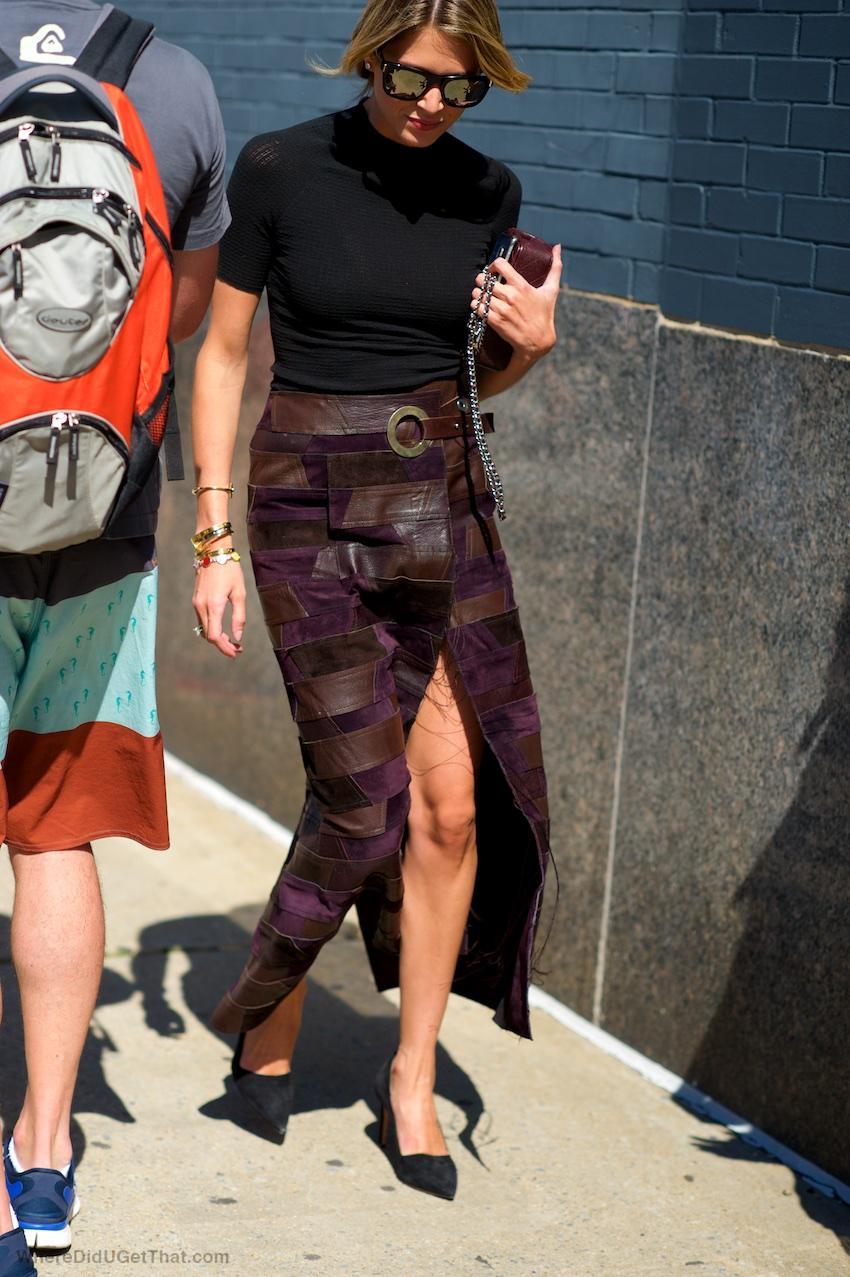 Calvin Klein patchwork suede skirt