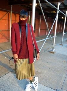 metallic pleated skirts