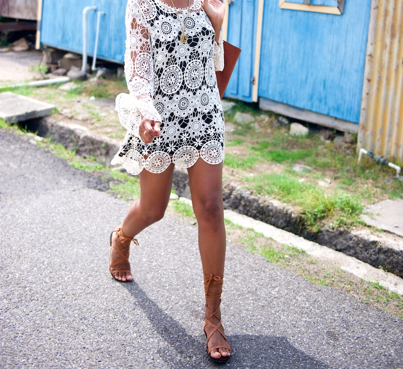 gladiator sandals, crochet dress