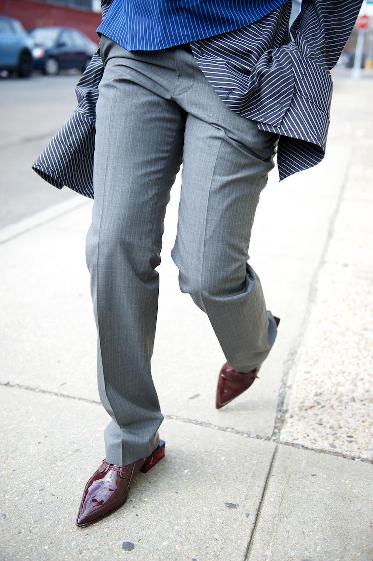karen blanchard wearing pinstripe oversized shirt and brogues