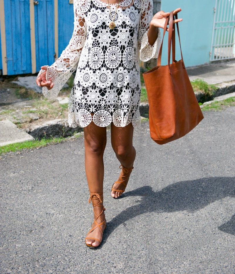 leather tote, gladiator sandals, crochet dress, pixie hair styles