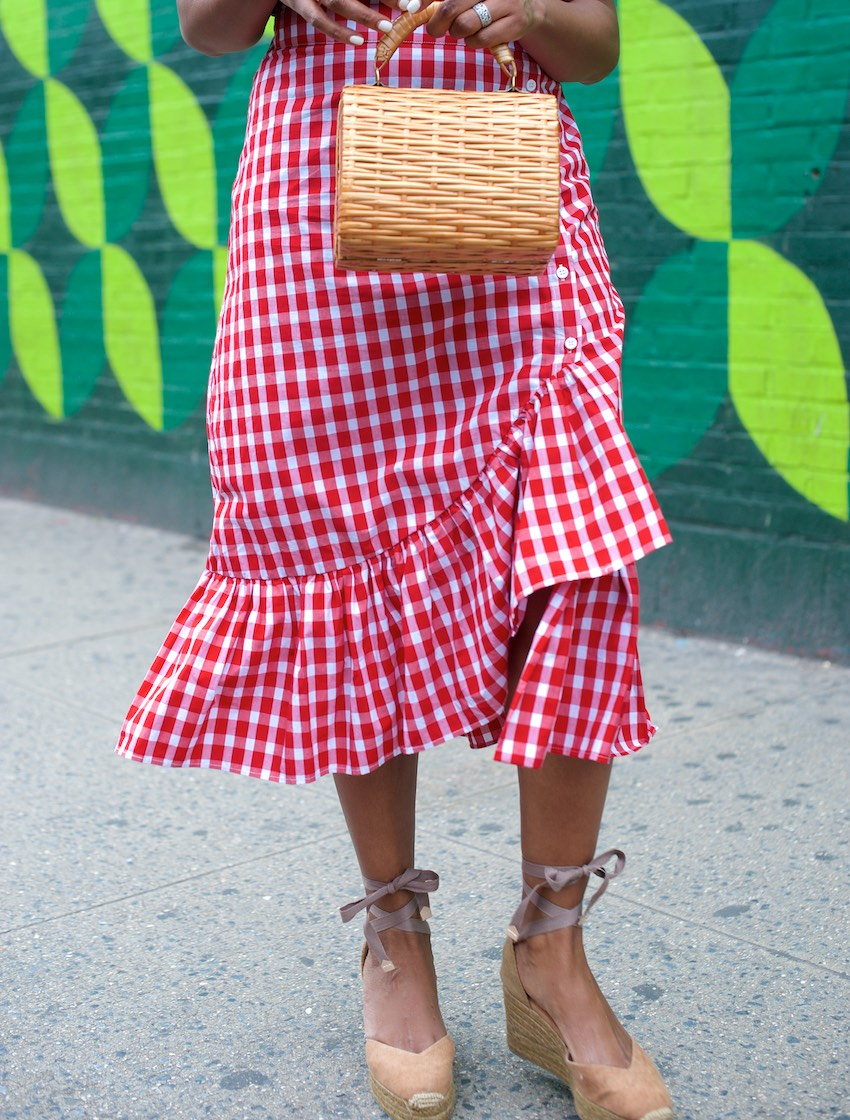 Karen Blanchard is wearing a zara gingham ruffle skirt with platform espadrilles