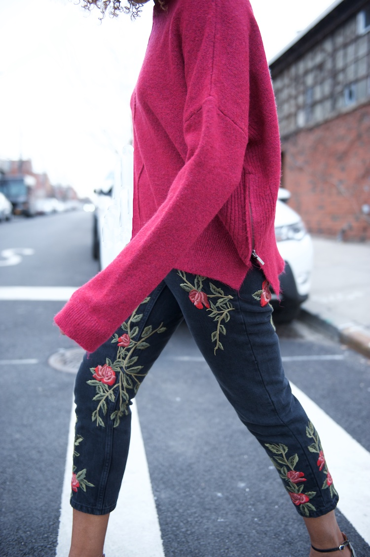 Topshop embroidered floral jeans