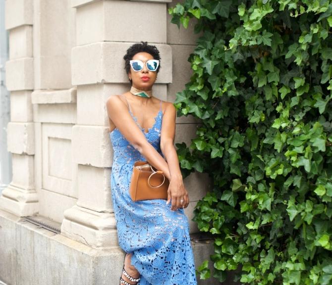long H&M lace maxi dress
