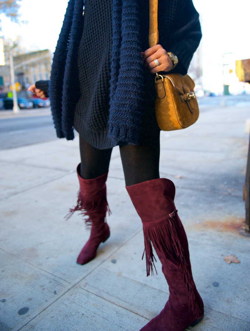 tall fringe suede boots