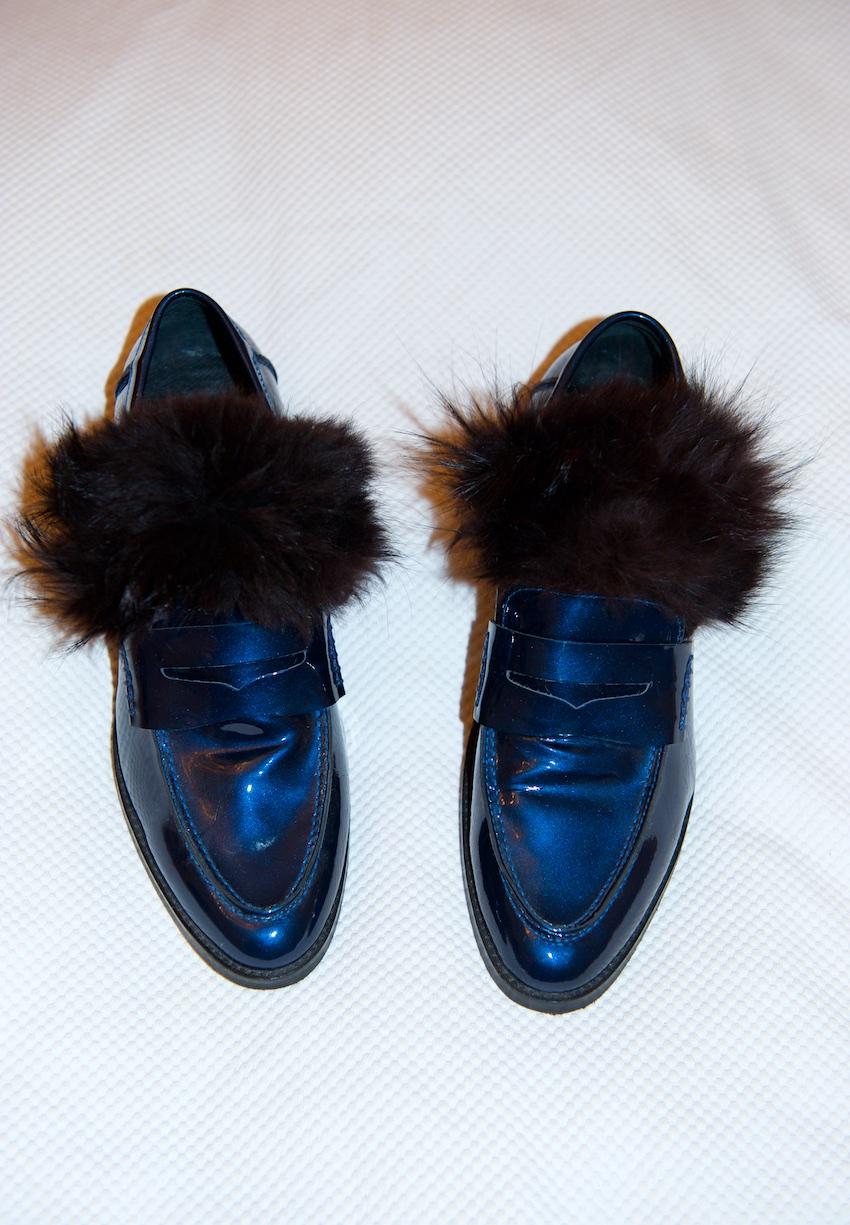 DIY gucci fur loafer
