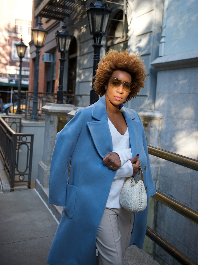 how to style blue coats