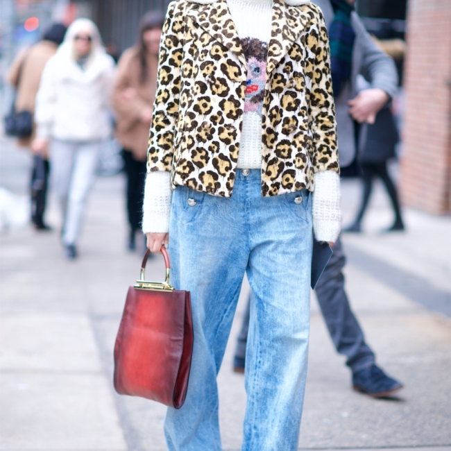 preetma singh in leopard print jacket with boyfriend jeans at new york fashion week street style
