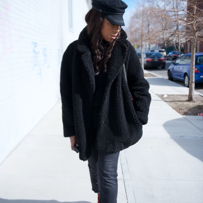 karen blanchard the fashion blogger wearing Zara ankle boots with a gucci dionysus bag and an H&M teddy coat
