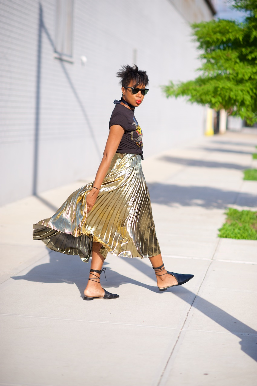 gold maxi pleated skirt