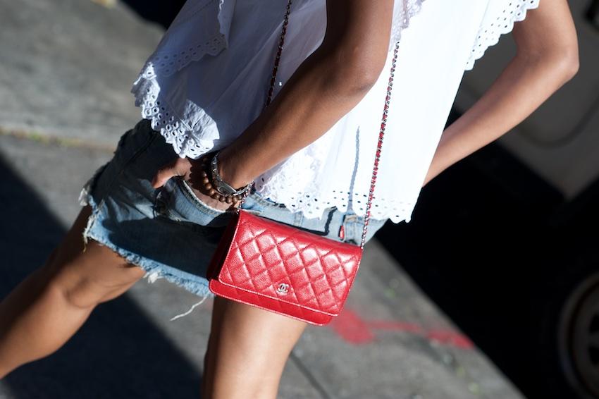 Chanel red caviar bag
