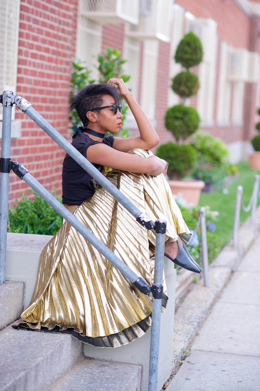 metallic gold pleated skirts
