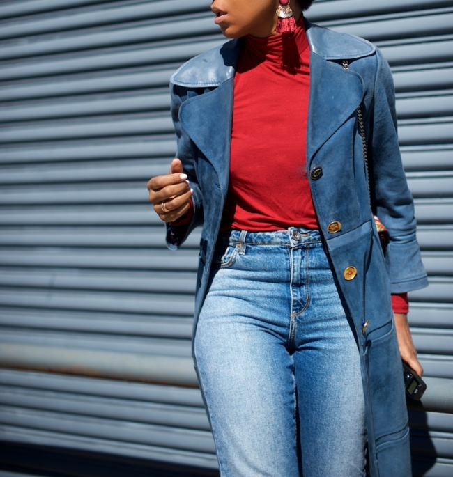 vintage suede trench coat and statement earrings
