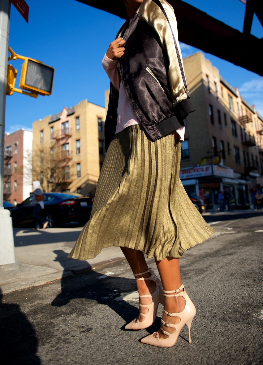 metallic pleated skirts