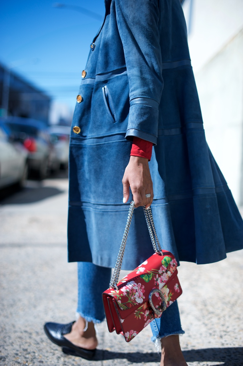 suede trench coats and Gucci blooms dionysus bag