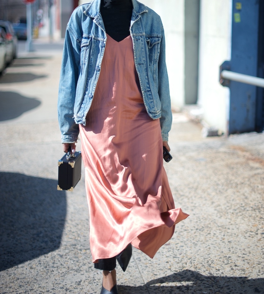 karen blanchard the fashion blogger wearing an H&M satin slip dress with a denim jacket