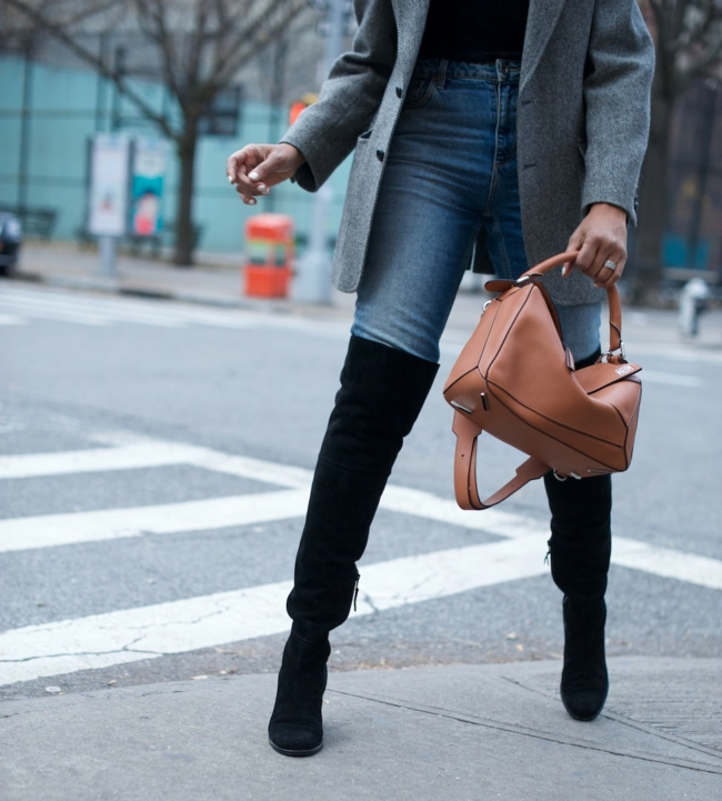 Loewe puzzle bag and stuart weitzman over the knee boots