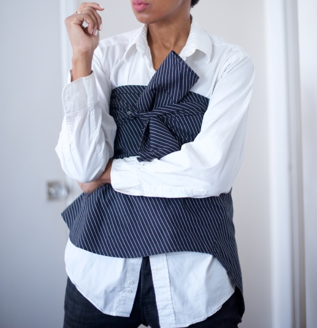 Karen Blanchard the fashion blogger showing how to wear the shirt trend