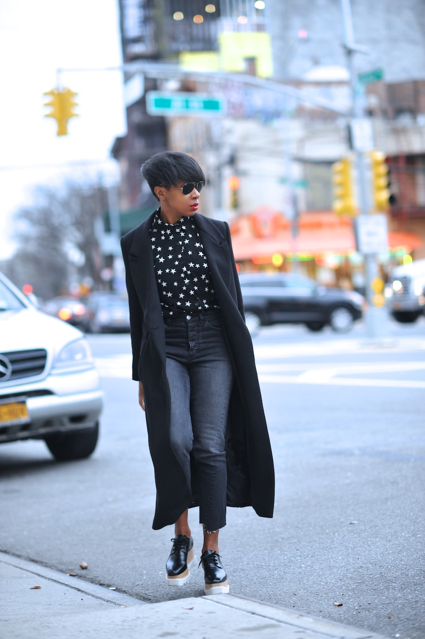 Karen Blanchard the fashion blogger wearing Stella McCartney platform shoes and high waisted jeans from H&M